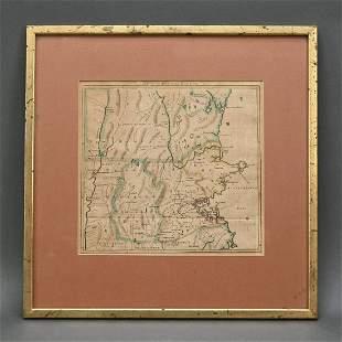 Pre-revolution Map Of 100 Miles Round Boston