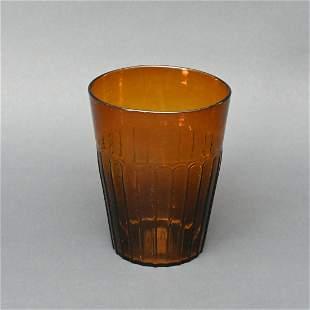 19th C. Blown & Pattern-molded Amber Flip Glass