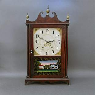 Connecticut Federal Mahogany Pillar & Scroll Clock