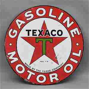 Texaco Porcelain Gasoline/Motor Oil Sign