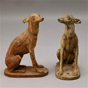Pair of Cast Iron Whippet Garden Ornaments