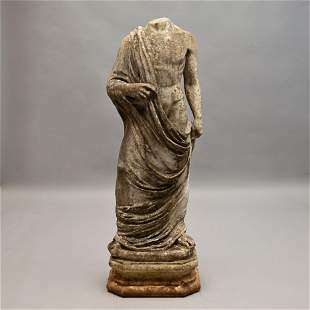 19th C. Greco-Roman Carved Marble Garden Sculpture