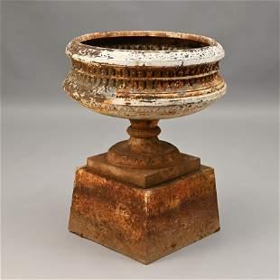 Cast Iron Garden Urn on Plinth