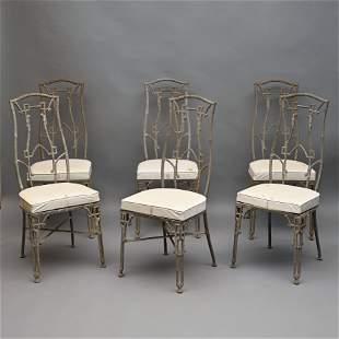 Set of Six Cast Zinc High-Back Patio Chairs