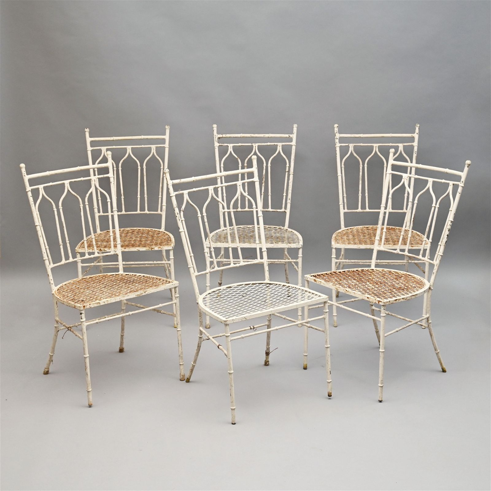 Set of Six Cast Iron Patio Chairs