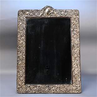 American Repousse Sterling Silver Mirror Frame