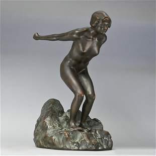 Art Deco Nude Female Figure Diving