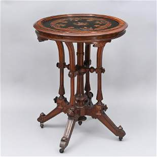 Renaissance Revival Marquetry Inlaid Parlor Table