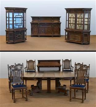 Renaissance Revival Oak Dining Suite, Berkey & Gay