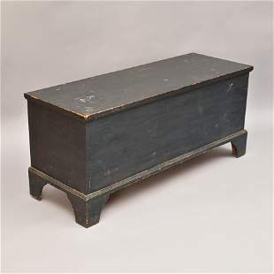 New England Chippendale Blue Painted Blanket Box
