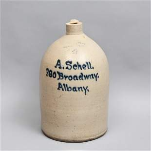 Four Gallon Ottman Bros. A. Schell Stoneware Jug