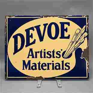 Devoe Artist Materials Enamel Flange Sign
