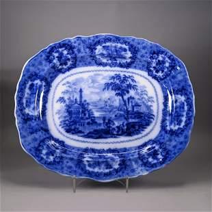 Large Flow Blue Platter, Oriental Pattern