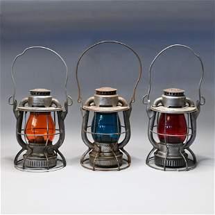 "Lot (3) B&M Dietz Vesta ""Lo-Top"" Railroad Lanterns"