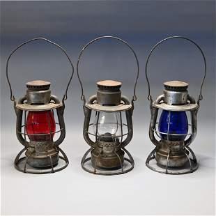 """Lot (3) B&M Dietz Vesta """"Hi-Top"""" Railroad Lanterns"""