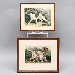 Two Hand-Colored Stone Lithographs of Dogs