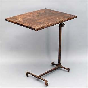 Oak & Cast Iron Adjustable Typewriter Stand