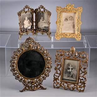 Four Victorian Cast Iron Photo & Mirror Frames