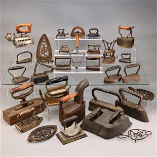 Collection Antique Hand Irons and Trivets