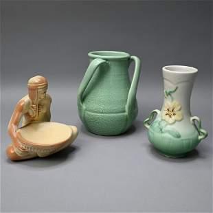 Three Art Pottery Table Objects