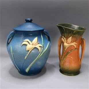 Roseville Pottery Zephyr Lily Covered Jar and Vase