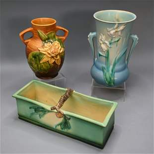 Roseville Pottery Planter and Two Vases.