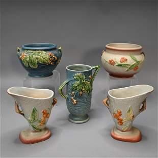 Lot of 5 Roseville Bushberry & Bittersweet Objects