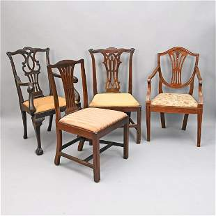 Two Chippendale Chairs And Two Others