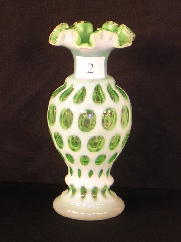 2: Fenton Lime Opalescent Coin Dot Vase