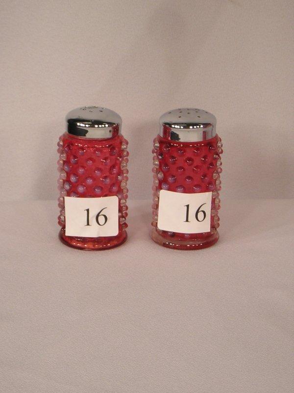 16: pr. Fenton Cranberry Opalescent Hobnail Salt & Pepp