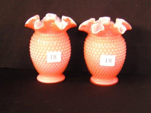 18: Fenton Coral Hobnail Vase X 2