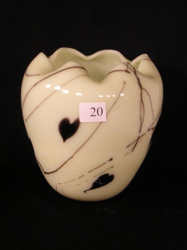"""20: Fenton Custard Hanging Hearts """"Robert Barber era"""" V"""