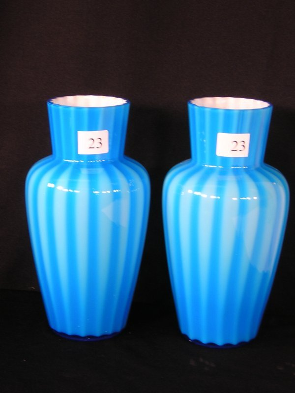 23: Fenton Blue Overlay Rib Optic VaseX 2