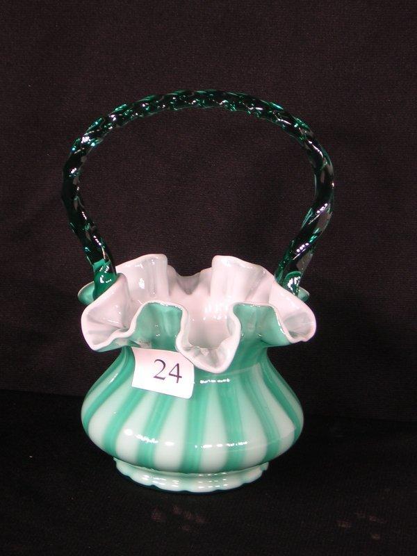 24: Fenton Green Overlay Basket w/ arched handle --- SA