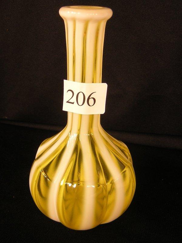 206: Fenton Topaz Opalescent Fluted Barber Bottle --- L