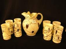 227: Fenton Custard Hanging Hearts Pitcher w/ 8 tall Tu