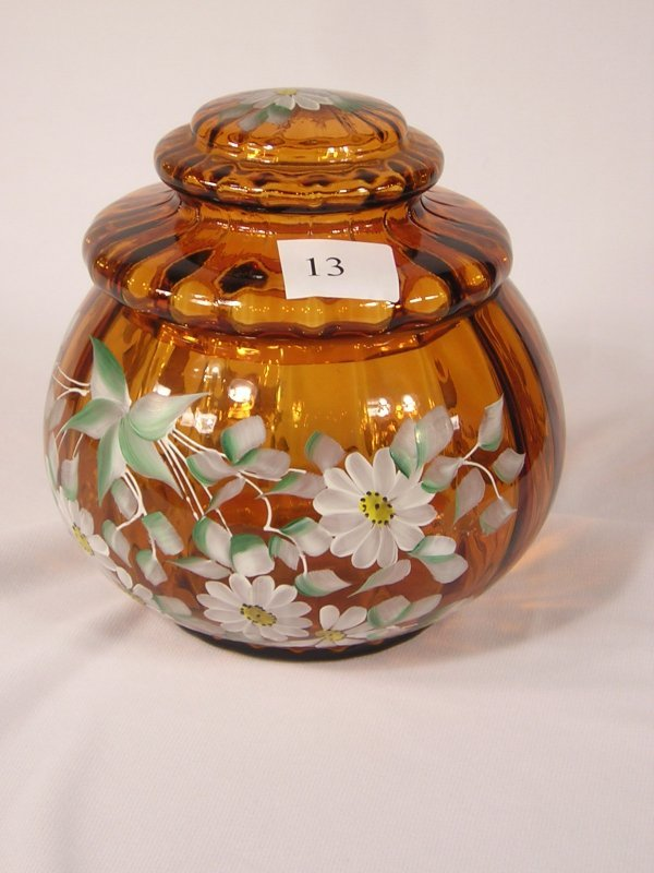 13:  L.G. Wright: amber apothecary covered jar, made by