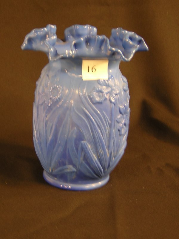 """16: Sample: Periwinkle Blue Daffodil 8"""" vase with doubl"""