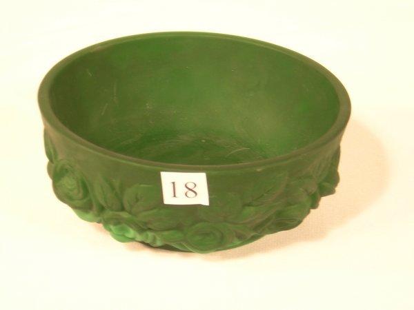 "18:  Sample: satin - finished malachite green 5.25"" d."