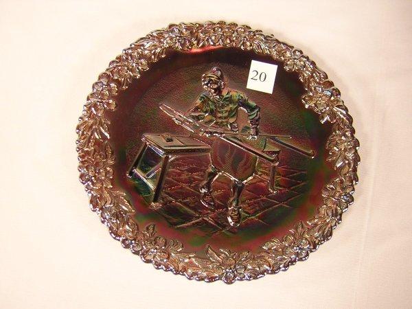 "20:  9115 CN Amethyst Carnival glass 8"" plate, ca. 1970"
