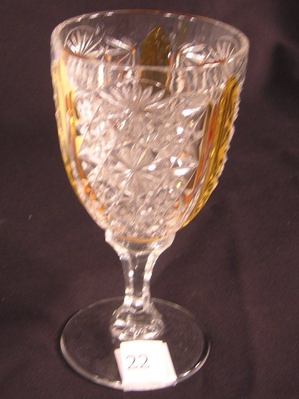 """22:  Crystal Daisy and Button 7"""" goblet with amber stai"""