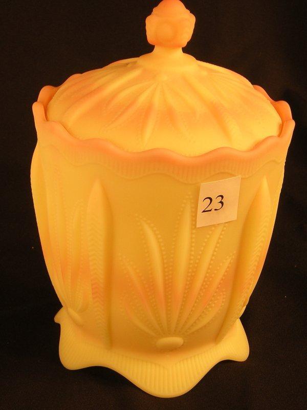 "23:   Burmese satin-finished Cactus 8"" tall covered jar"