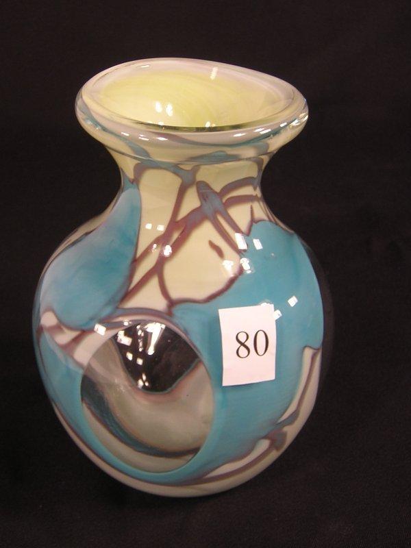"80: Robert Barber sample: heavy 6"" window vase with opa"
