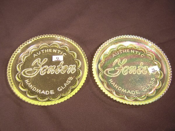 """9: Two Tapaz 6.25"""" d. Fenton logo plates, one of which"""