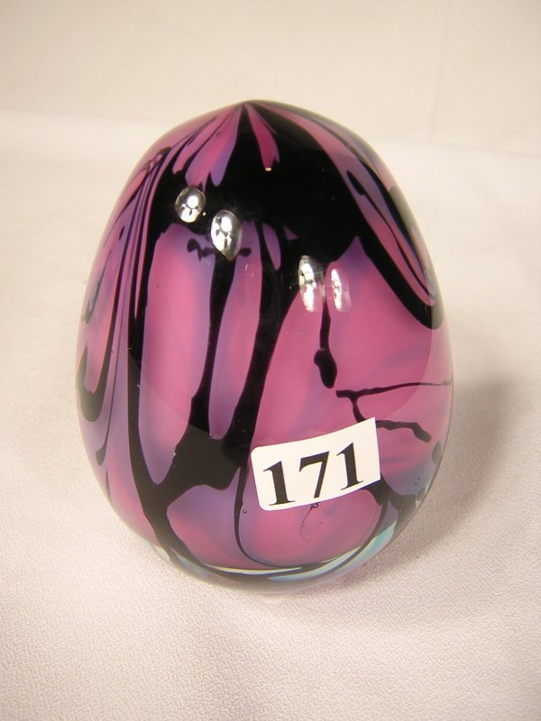 """171: Robert Barber sample: Egg, about 4"""" tall, pink wit"""