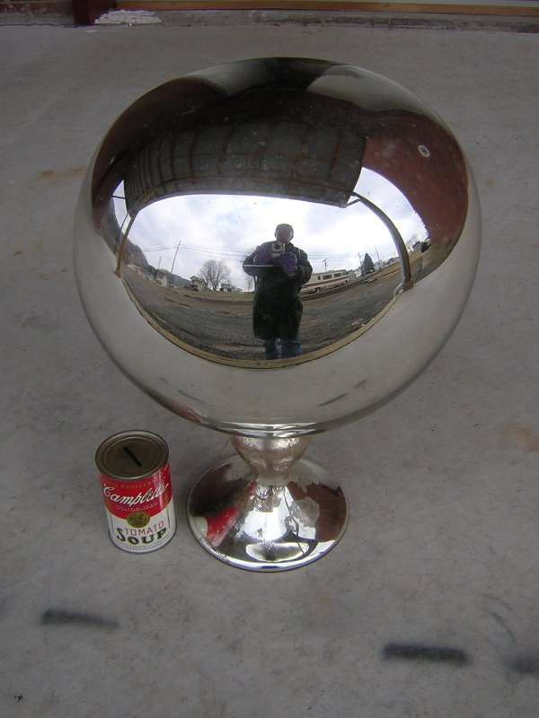 3: Victorian Mercury Glass Gazing Ball -- on stand - on