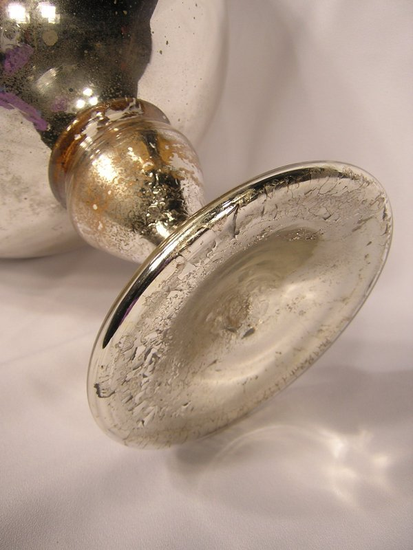 3: Victorian Mercury Glass Gazing Ball -- on stand - on - 2