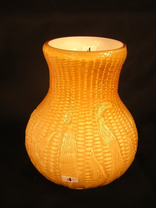 "4:  Imperial Glass Maze pattern Vase - 9"" tall -- 7"" wi"