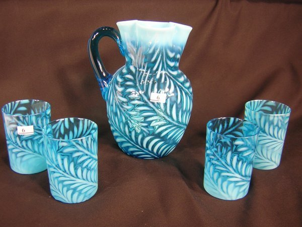 6: 5 pc. Beaumont Glass Blue opalescent - fern pattern
