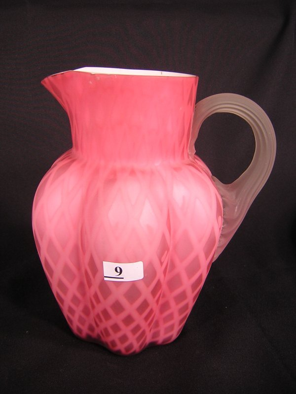 "9: 7 1/2"" Victorian Quilted Satin Pitcher"